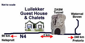 Location of Luilekker Guest House and Chalets